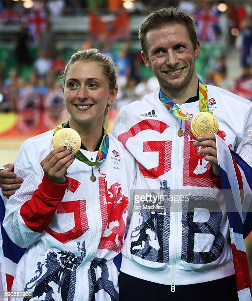 Jason kenny and Laura Trott of Great Britain pose with their Gold medals at Rio Olympic Velodrome on August 16, 2016 in Rio de Janeiro, Brazil.