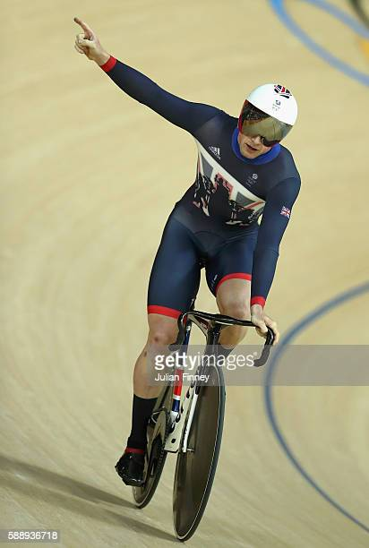Jason Kenny of Great Britain celebrates breaking the new Olympic record after competing in the Men's Sprint Qualifying on Day 7 of the Rio 2016...