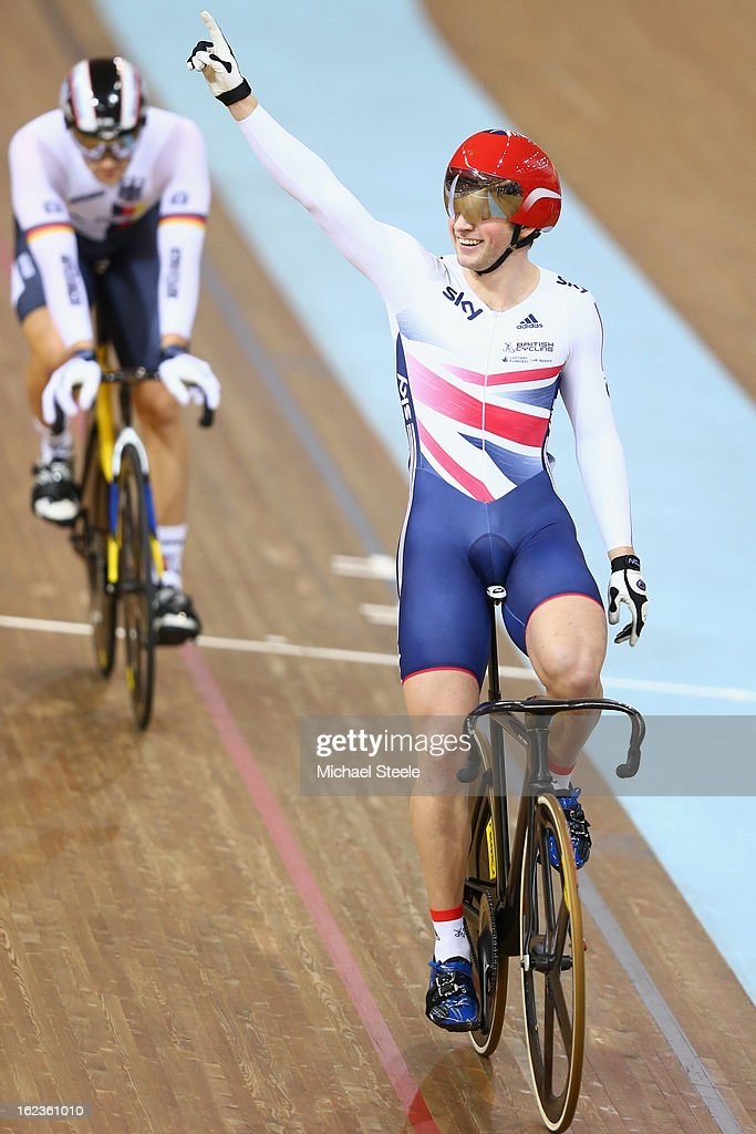 Jason Kenny of Great Britain celebrates winning gold in the men's keirin final during day three of the UCI Track World Championships at Minsk Arena on February 22, 2013 in Minsk, Belarus.
