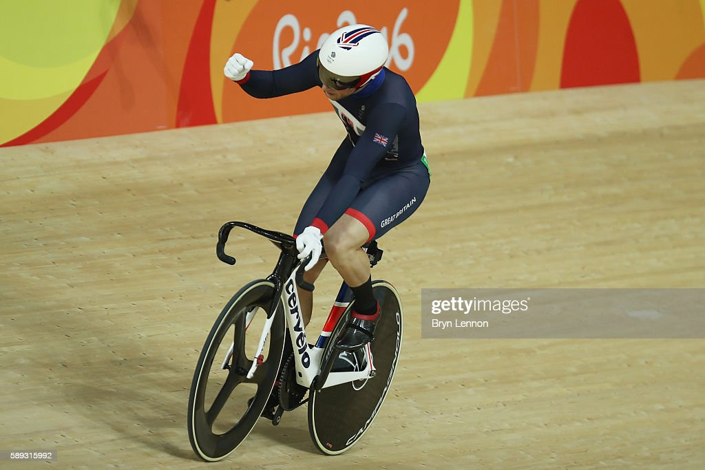 Jason Kenny of Great Britain celebrates winning the during the Men's Sprint semifinal Race 3 and qualifying for the gold medal final on Day 8 of the Rio 2016 Olympic Games at the Rio Olympic Velodrome on August 13, 2016 in Rio de Janeiro, Brazil.