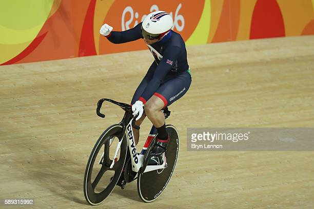 Jason Kenny of Great Britain celebrates winning the during the Men's Sprint semifinal Race 3 and qualifying for the gold medal final on Day 8 of the...