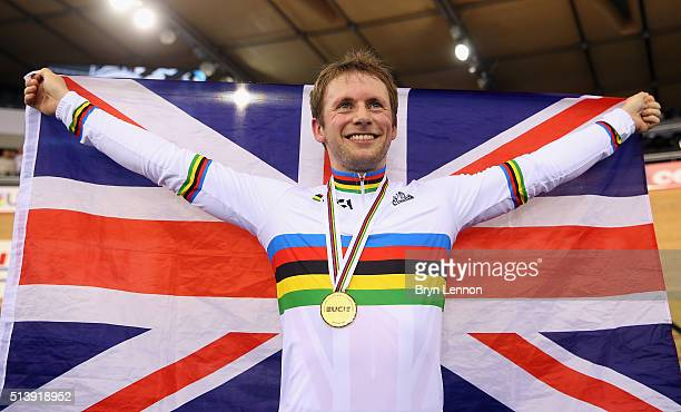 Jason Kenny of Great Britain celebrates winning the Men's Sprint on day four of the UCI Track Cycling World Championships at Lee Valley Velopark...