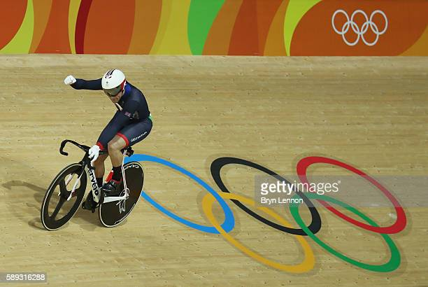 Jason Kenny of Great Britain celebrates winning the Men's Sprint semifinal Race 3 and qualifying for the gold medal final on Day 8 of the Rio 2016...