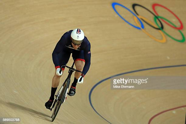 Jason Kenny of Great Britain competes against Callum Skinner of Great Britain during the Men's Sprint Finals on Day 9 of the Rio 2016 Olympic Games...