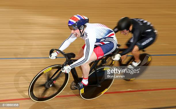 Jason Kenny of Great Britain competes against Sam Webster of New Zealand in the Men's Sprint Quarter Finals during Day Four of the UCI Track Cycling...