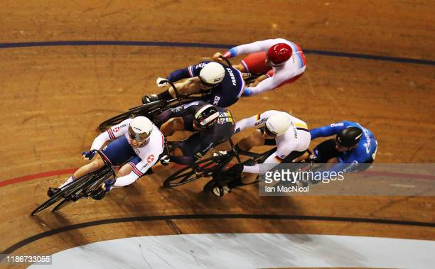 Jason Kenny of Great Britain competes in final of the Men's Keirin during Day Three of the UCI Track Cycling World Cup at Sir Chris Hoy Velodrome on...