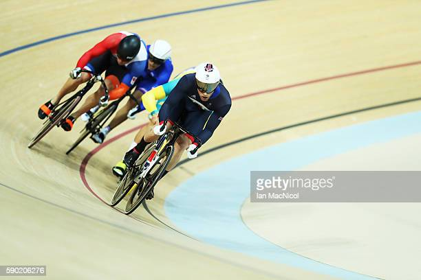 Jason Kenny of Great Britain competes in the Semi Final of The Keirin at Rio Olympic Velodrome on August 16 2016 in Rio de Janeiro Brazil