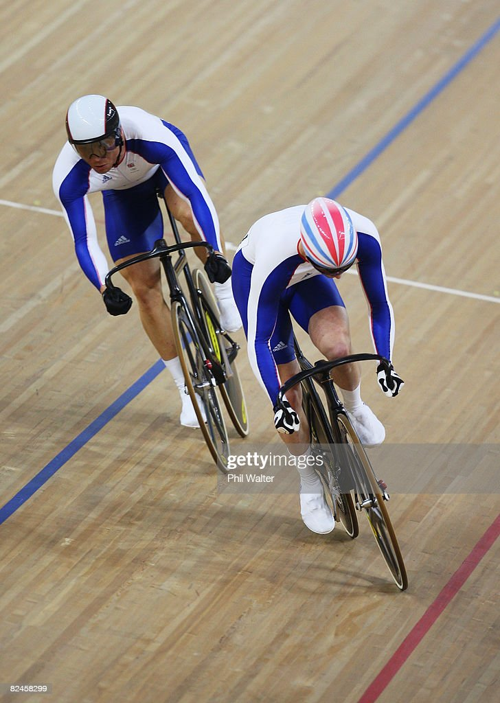 Jason Kenny (front) of Great Britain competes with Chris Hoy of Great Britain in the Men's Sprint Finals in the track cycling event at the Laoshan Velodrome on Day 11 of the Beijing 2008 Olympic Games on August 19, 2008 in Beijing, China.