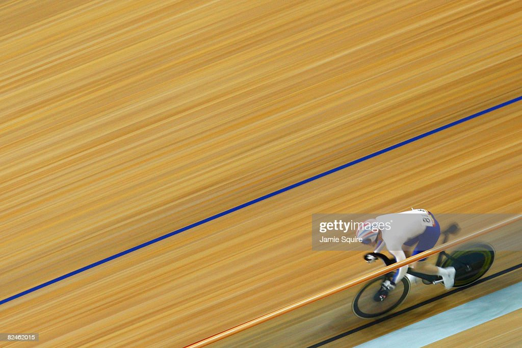 Jason Kenny of Great Britain competes with Chris Hoy of Great Britain in the Men's Sprint Finals in the track cycling event at the Laoshan Velodrome on Day 11 of the Beijing 2008 Olympic Games on August 19, 2008 in Beijing, China.