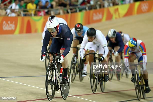 Jason Kenny of Great Britain leads Hugo Barrette of Canada, Fabian Hernando Puerta Zapata of Colombia, Maximilian Levy of Germany, Yuta Wakimoto of...