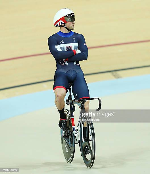 Jason Kenny of Great Britain looks on as the final of the Keirin is halted for a judges decision at Rio Olympic Velodrome on August 16 2016 in Rio de...