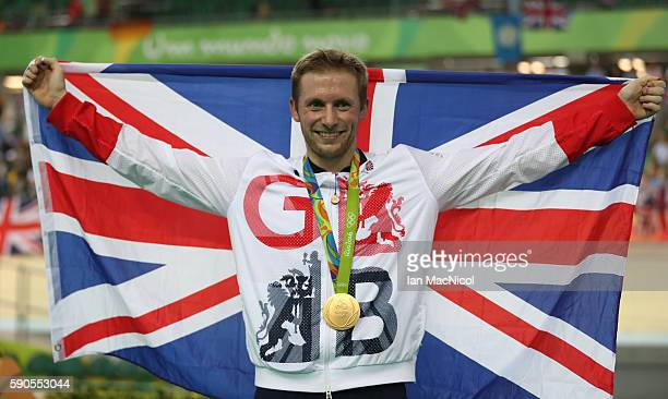 Jason kenny of Great Britain poses with his Gold medal from the Men's Keirin at Rio Olympic Velodrome on August 16 2016 in Rio de Janeiro Brazil