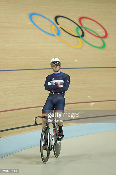 Jason Kenny of Great Britain waits for a ruling in the Men's Keirin Finals race on Day 11 of the Rio 2016 Olympic Games at the Rio Olympic Velodrome...