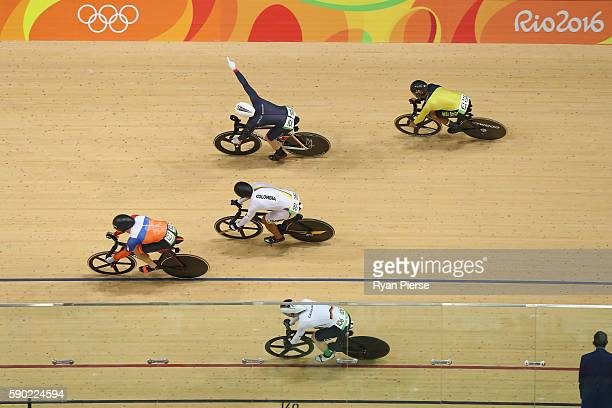 Jason Kenny of Great Britain wins gold during a Men's Keirin Finals race on Day 11 of the Rio 2016 Olympic Games at the Rio Olympic Velodrome on...