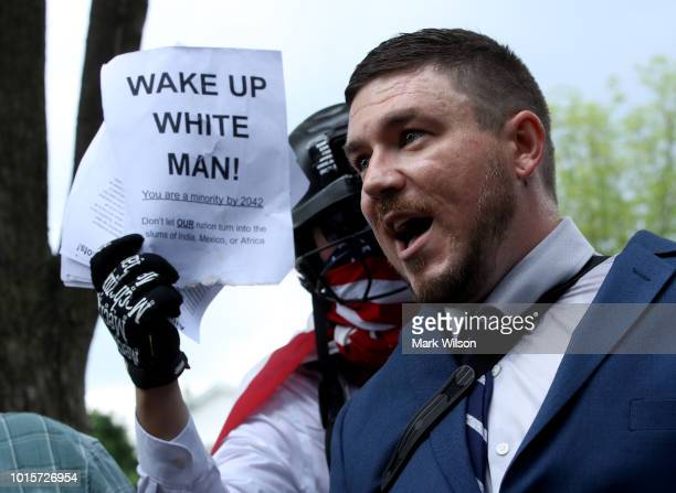 Jason Kessler who organized the rally speaks as white supremacists neoNazis members of the Ku Klux Klan and other hate groups gather for the Unite...