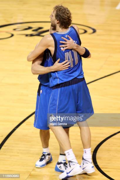 Jason Kidd and Dirk Nowitzki of the Dallas Mavericks celebrate after they won 10595 against the Miami Heat in Game Six of the 2011 NBA Finals at...