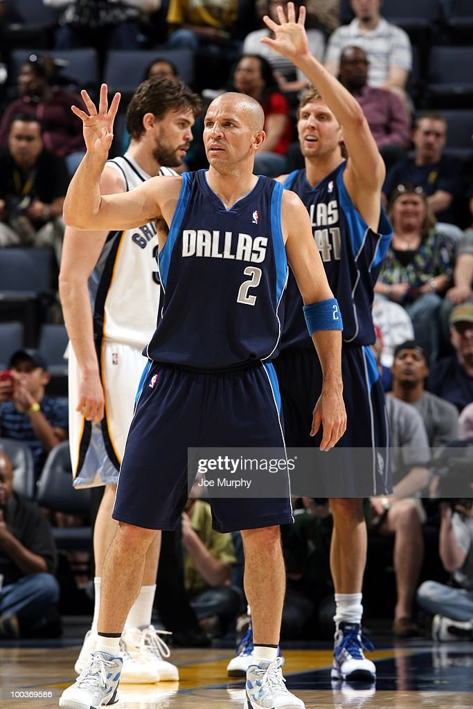 Jason Kidd #2 and Dirk Nowitzki #41 of the Dallas Mavericks signal to the sideline during the game against the Memphis Grizzlies at the FedExForum on March 31, 2010 in Memphis, Tennessee. The Mavs won 106-102.