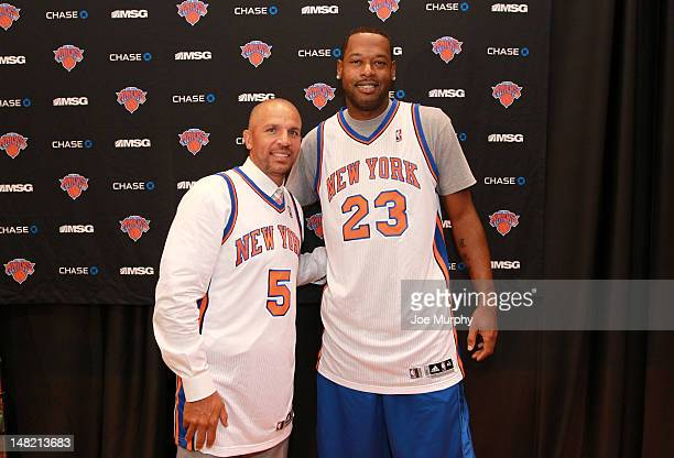Jason Kidd and Marcus Camby of the New York Knicks poses for a photo during a press conference on July 12 2012 at the MSG Training Facility in...
