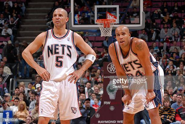 Jason Kidd and Richard Jefferson of the New Jersey Nets take a break in action during the game against the Golden State Warriors on December 22 2007...