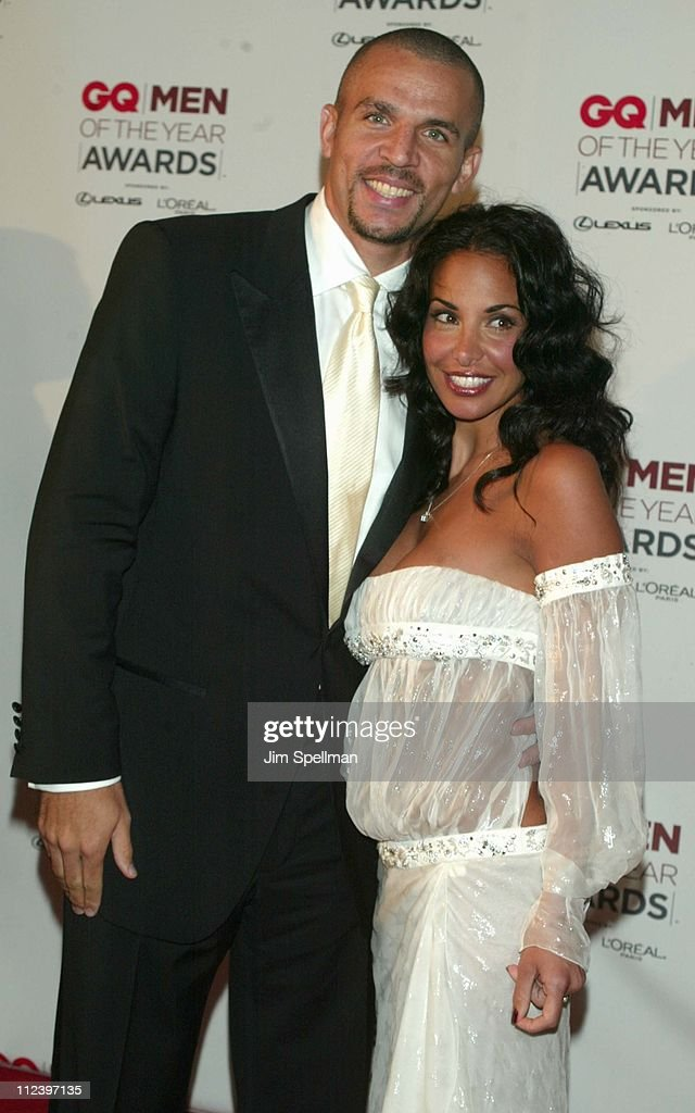 Jason Kidd and wife Joumana Kidd during 2002 GQ Men of the Year Awards - Arrivals at Hammerstein Ballroom in New York City, New York, United States.