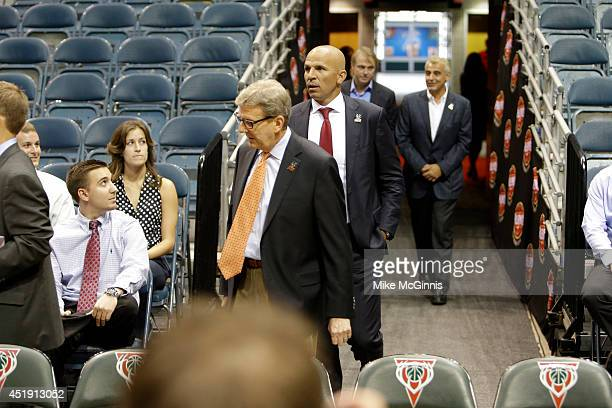 Jason Kidd attends a Press conference along with the general manager John Hammond Coowner Wesley Edens and Coowner Marc Lasry announcing his new job...