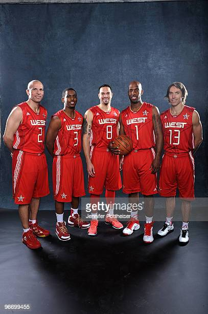 Jason Kidd Chris Paul Deron Williams Chauncey Billups and Steve Nash of the Western Conference pose for a portrait prior to the NBA AllStar game as...