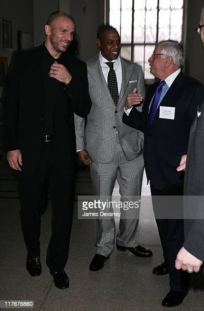 Jason Kidd JayZ and David Stern during NJ Nets and Forest City Ratner Press Conference in Brooklyn at Brooklyn Museum of Art in Brooklyn New York...