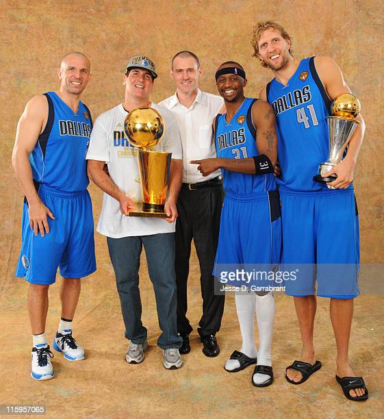 Jason Kidd Mark Cuban Rick Carlisle Jason Terry and Dirk Nowitzki of the Dallas Mavericks poses for a portrait after defeating the Miami Heat during...