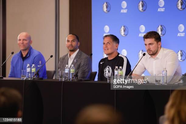 Jason Kidd, Nico Harrison, Mark Cuban, Luka Doncic at a press conference. Slovenian NBA star, Luka Doncic signed a five-year 207-million-dollar...