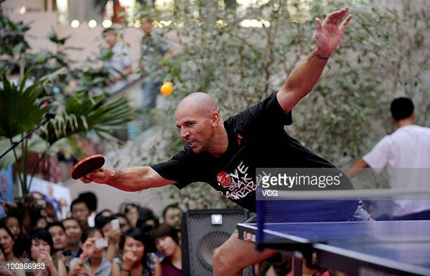 Jason Kidd of Dallas Mavericks plays table tennis during his meeting with fans on August 5 2011 in Shenyang Liaoning Province of China