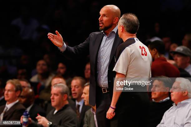 Jason Kidd of the Brooklyn Nets argues with referee Jason Phillips during the game against the Atlanta Hawks at Barclays Center on April 11 2014 in...