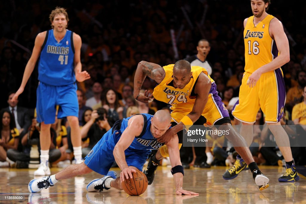 Jason Kidd #2 of the Dallas Mavericks and Kobe Bryant #24 of the Los Angeles Lakers battle for a loose ball in the third quarter in Game One of the Western Conference Semifinals in the 2011 NBA Playoffs at Staples Center on May 2, 2011 in Los Angeles, California.