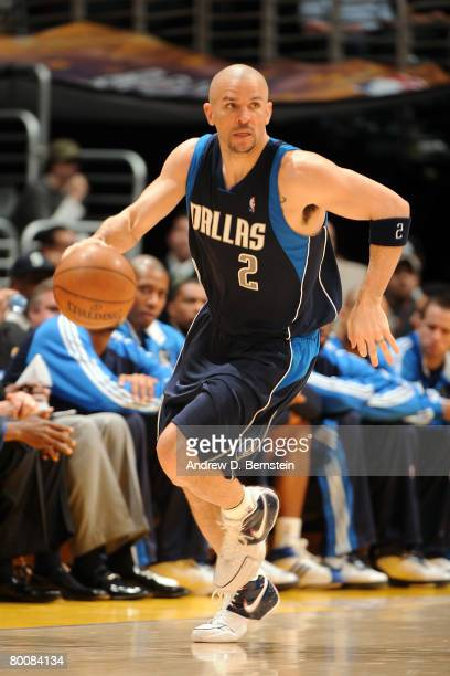 Jason Kidd of the Dallas Mavericks brings the ball up the court during the game against the Los Angeles Lakers at Staples Center on March 2 2008 in...