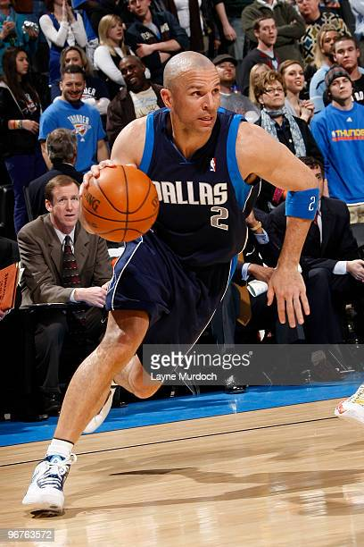 Jason Kidd of the Dallas Mavericks drives to the basket during a game against the Oklahoma City Thunder on February 16 2010 at the Ford Center in...