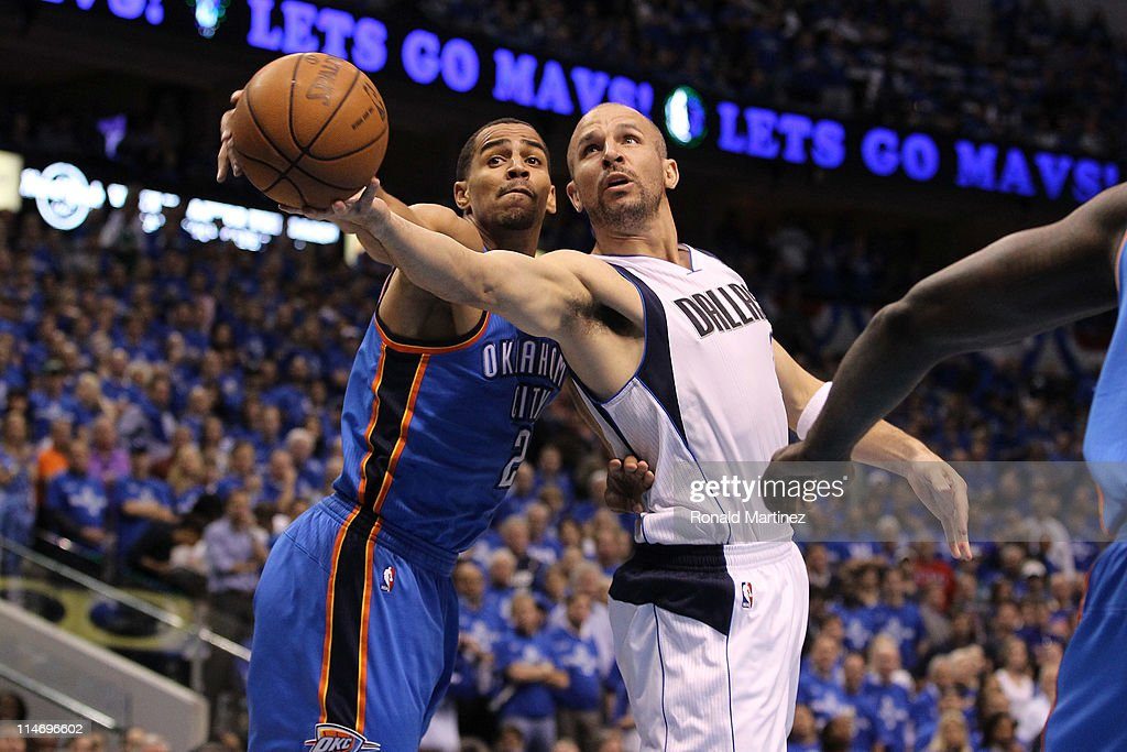 Jason Kidd #2 of the Dallas Mavericks goes up for a shot against Thabo Sefolosha #2 of the Oklahoma City Thunder in the first quarter in Game Five of the Western Conference Finals during the 2011 NBA Playoffs at American Airlines Center on May 25, 2011 in Dallas, Texas.
