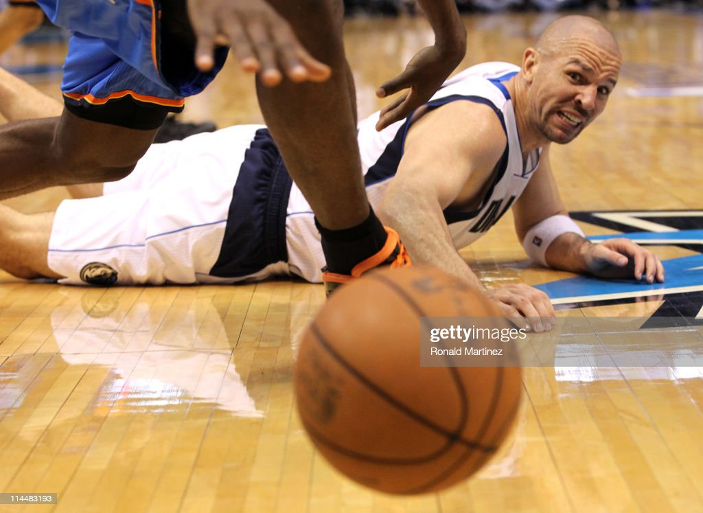 Jason Kidd #2 of the Dallas Mavericks lays on the court looking at the ball while taking on the Oklahoma City Thunder in Game Two of the Western Conference Finals during the 2011 NBA Playoffs at American Airlines Center on May 19, 2011 in Dallas, Texas.