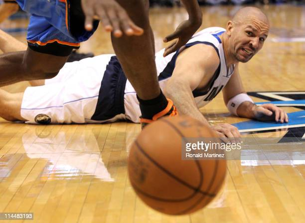 Jason Kidd of the Dallas Mavericks lays on the court looking at the ball while taking on the Oklahoma City Thunder in Game Two of the Western...