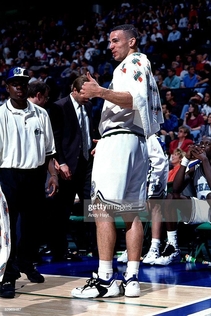Jason Kidd #5 of the Dallas Mavericks looks on during an NBA game on April 7, 1995 in Dallas, Texas.