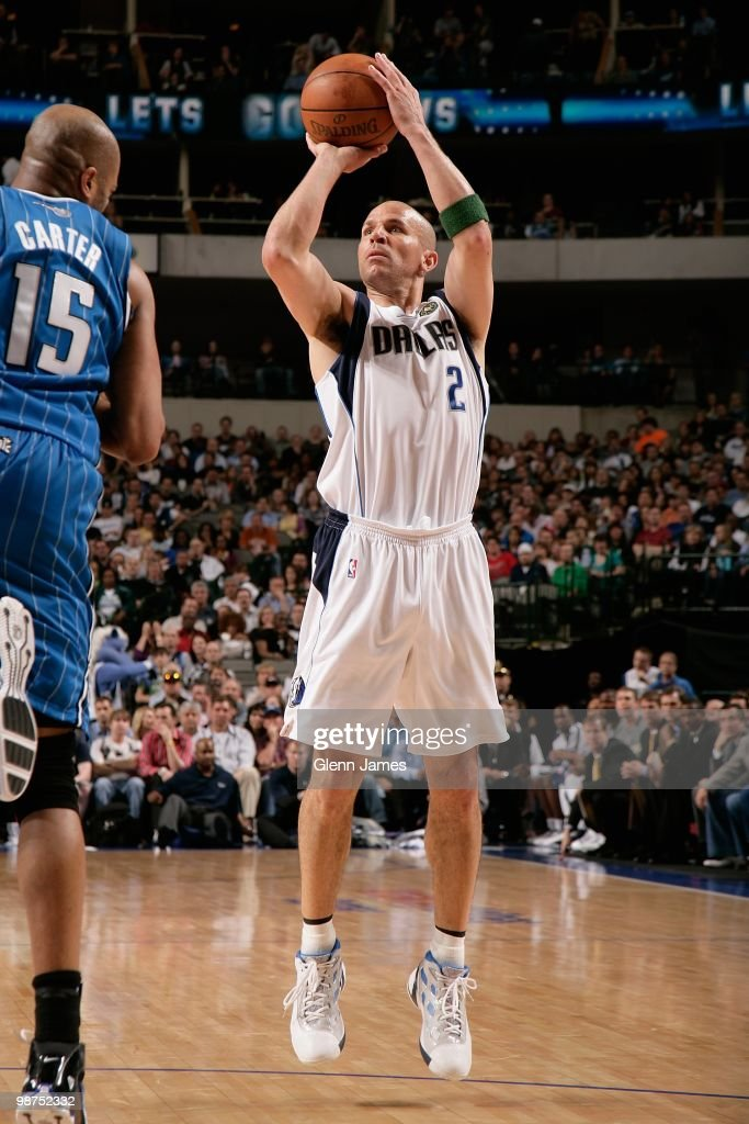 Jason Kidd #2 of the Dallas Mavericks makes a jumpshot against Vince Carter #15 of the Orlando Magic during the game on April 1, 2010 at American Airlines Center in Dallas, Texas. The Magic won 97-82.