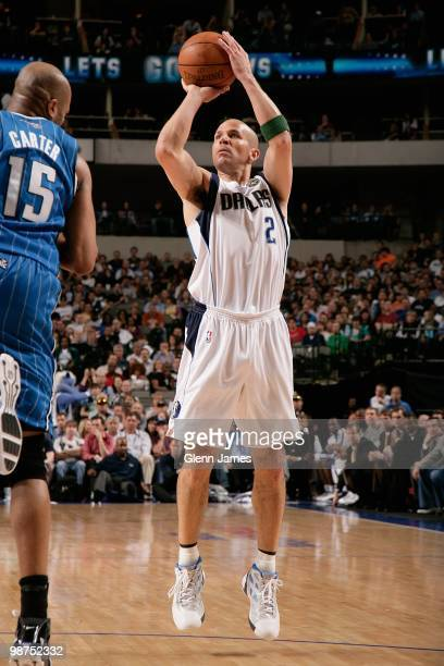 Jason Kidd of the Dallas Mavericks makes a jumpshot against Vince Carter of the Orlando Magic during the game on April 1 2010 at American Airlines...