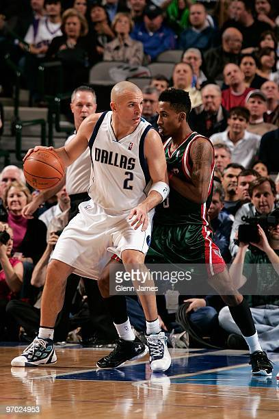Jason Kidd of the Dallas Mavericks moves the ball against Brandon Jennings of the Milwaukee Bucks during the game at the American Airlines Center on...