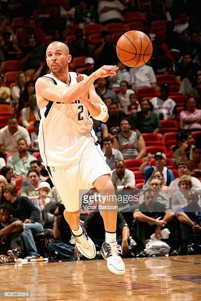 Jason Kidd of the Dallas Mavericks passes during the game against the Miami Heat on March 16 2008 at American Airlines Arena in Miami Florida The...