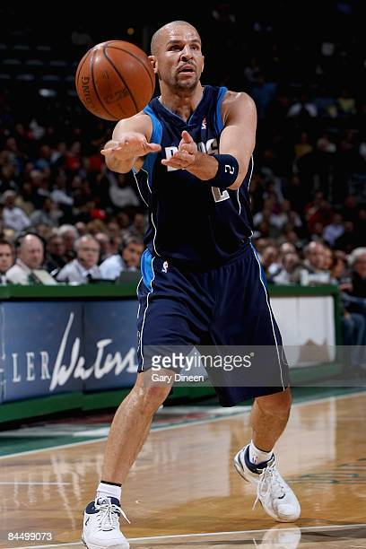 Jason Kidd of the Dallas Mavericks passes the ball during the game against the Milwaukee Bucks on January 21 2009 at the Bradley Center in Milwaukee...