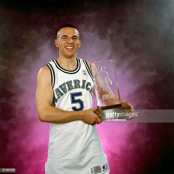 Jason Kidd of the Dallas Mavericks poses for a portrait with the Rookie of the Year Trophy circa 1995 in Dallas Texas NOTE TO USER User expressly...