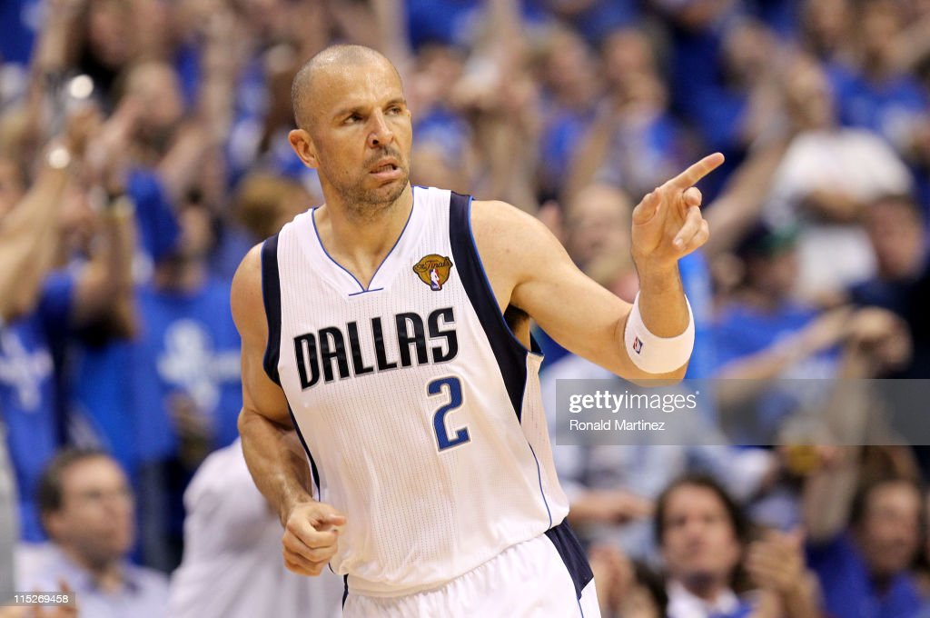 Jason Kidd #2 of the Dallas Mavericks reacts after making a three-pointer in the third quarter against the Miami Heat in Game Three of the 2011 NBA Finals at American Airlines Center on June 5, 2011 in Dallas, Texas.