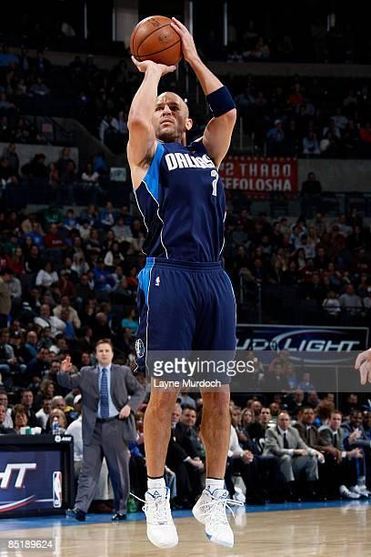 Jason Kidd of the Dallas Mavericks shoots a jump shot against the Oklahoma City Thunder on March 2 2009 at the Ford Center in Oklahoma City Oklahoma...
