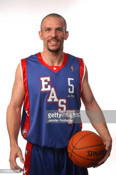 Jason Kidd of the Eastern Conference All Stars poses for a portrait prior to the All Star Game as part of 2004 NBA All Star Weekend on February 15...