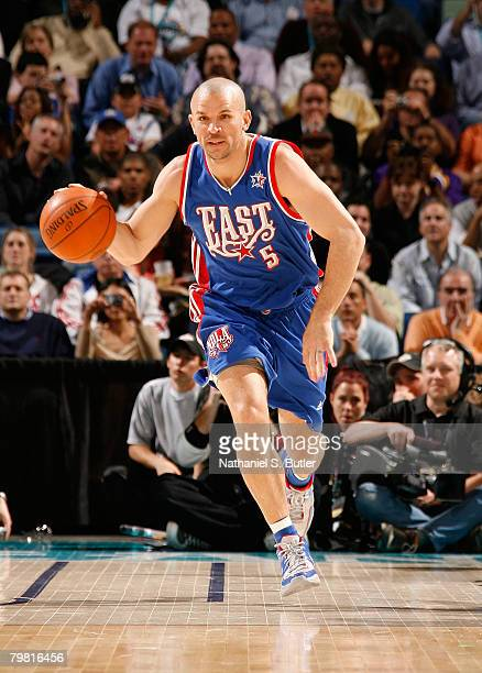 Jason Kidd of the Eastern Conference brings the ball up court during the 2008 NBA AllStar Game part of 2008 NBA AllStar Weekend at the New Orleans...