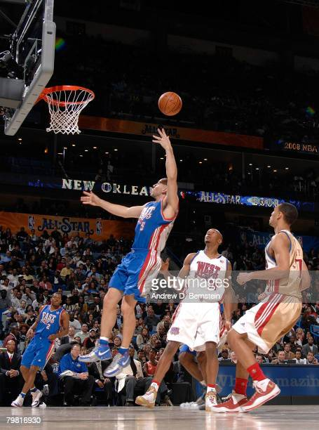 Jason Kidd of the Eastern Conference shoots the ball lefthanded during the 2008 NBA AllStar Game part of 2008 NBA AllStar Weekend at the New Orleans...