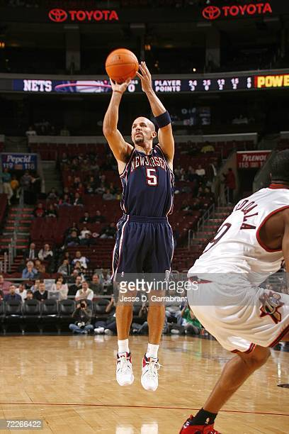 Jason Kidd of the New Jersey Nets attempts a jump shot against the Philadelphia 76ers on October 25 2006 at the Wachovia Center in Philadelphia...